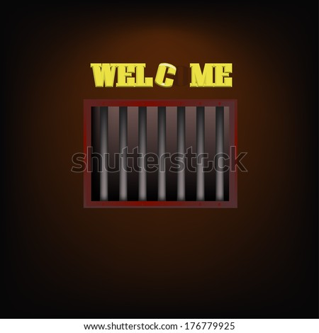 jail cell with welcome label - stock vector
