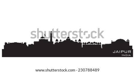 Jaipur India skyline Detailed vector silhouette - stock vector