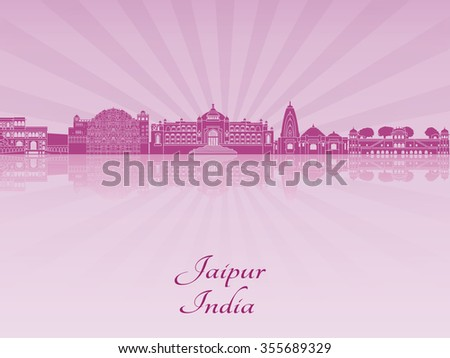 Jaipur skyline in purple radiant orchid in editable vector file - stock vector