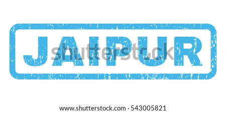 Jaipur text rubber seal stamp watermark. Vector blue ink tag inside rounded rectangular banner. Grunge design and dirty texture. Horizontal sticker on a white background.