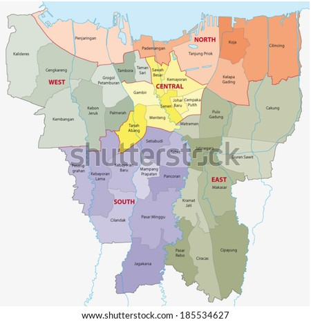 Jakarta Administrative Map Stock Vector HD Royalty Free 185534627