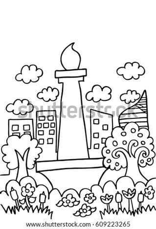 Jakarta In Sketch Doodle
