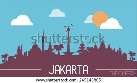 Jakarta Indonesia skyline silhouette flat design vector illustration. - stock vector