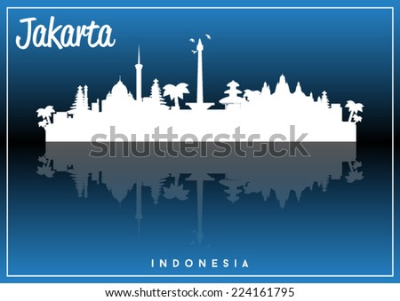 Jakarta, Indonesia, skyline silhouette vector design on parliament blue and black background. - stock vector