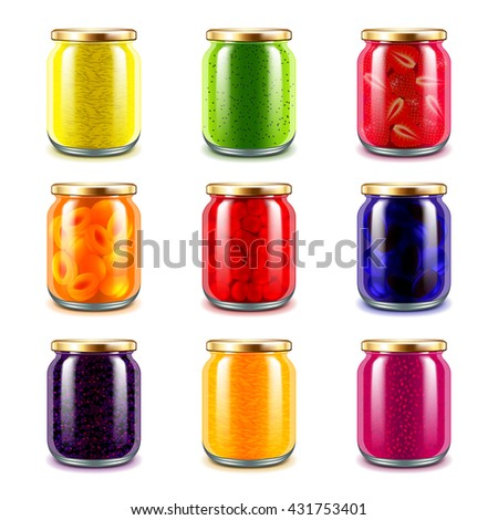 Jam jars icons detailed photo realistic vector set - stock vector