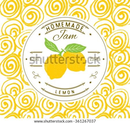 Jam Label Design Template Lemon Dessert Vector 361267037 – Product Label Template