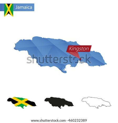 Jamaica blue Low Poly map with capital Kingston, versions with flag, black and outline. Vector Illustration. - stock vector