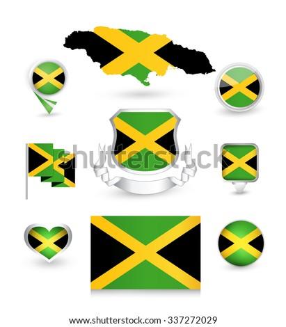 Jamaica Flag Collection. Vector icon set. - stock vector