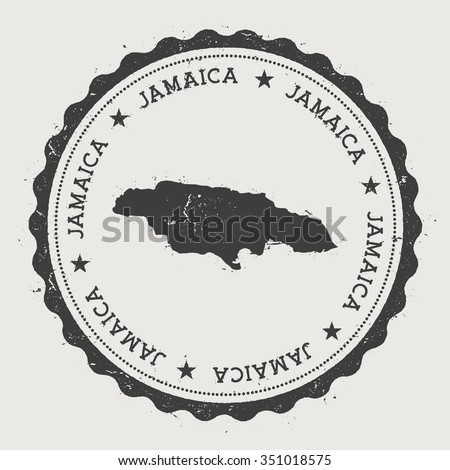 Jamaica. Hipster round rubber stamp with Jamaica map. Vintage passport stamp with circular text and stars, vector illustration - stock vector