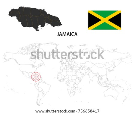 Jamaica map on world map flag stock vector 756658417 shutterstock jamaica map on a world map with flag on white background gumiabroncs Image collections