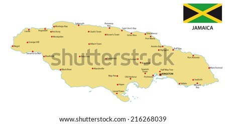 jamaica map with flag - stock vector