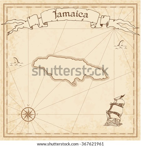 Jamaica old treasure map. Sepia engraved template of Jamaica treasure map. Stylized Jamaica treasure map on vintage torn paper. - stock vector