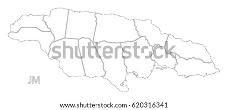 Jamaica Outline Silhouette Map Illustration Parishes Stock Vector ...
