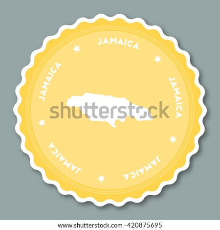 Jamaica sticker flat design. Round flat style badges of trendy colors with country map and name. Country sticker vector illustration. - stock vector