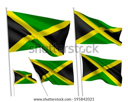 Jamaica vector flags. A set of 5 wavy 3D flags created using gradient meshes. - stock vector