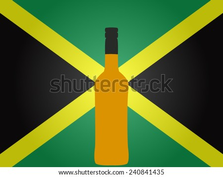 Jamaican Flag with a Bottle of Rum EPS10 - stock vector