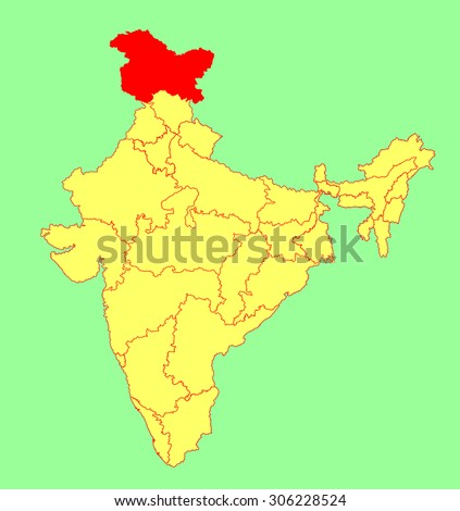 Jammu kashmir state india vector map stock vector royalty free jammu and kashmir state india vector map silhouette illustration isolated on india map gumiabroncs Images