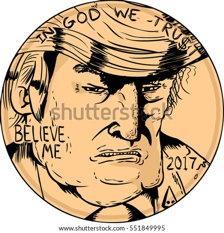 Jan. 2, 2017. Close up of Donald Trump face on side of penny