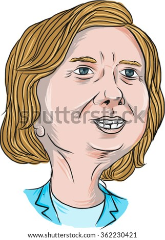 Jan. 14, 2016: Vector illustration of  Democrat presidential candidate Hillary Clinton on isolated background done in cartoon style. - stock vector