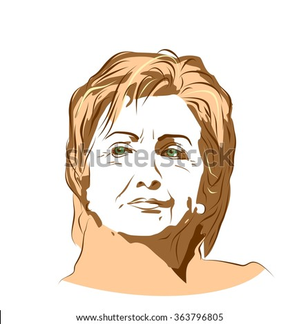 January 15, 2016: A vector illustration showing Democrat presidential candidate Hillary Clinton on isolated background done in hand draw style - stock vector