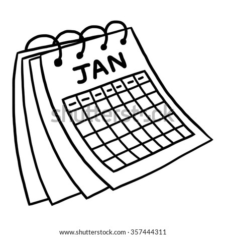January calendar / cartoon vector and illustration, black and white, hand drawn, sketch style, isolated on white background. - stock vector