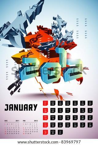 January - Calendar Design 2012 - stock vector