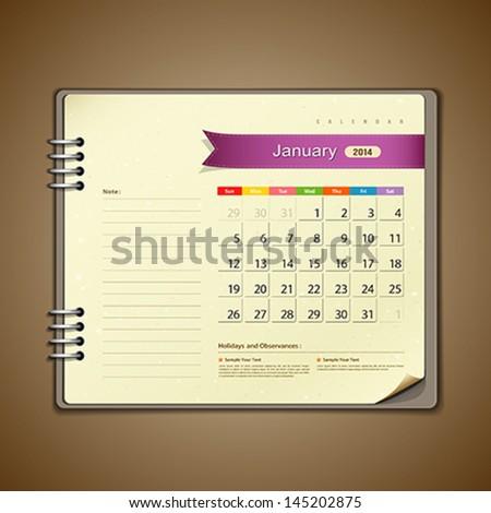 January Calendar diary note paper, vector illustration - stock vector