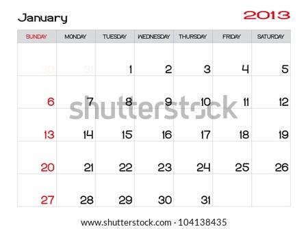January 2013 Calendar in English - stock vector