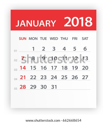 January 2018 Calendar Leaf Vector Illustration Stock Vector ...