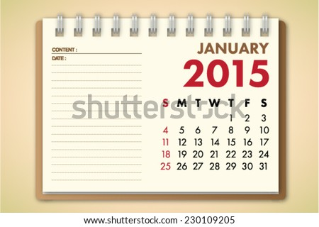 January 2015 Calendar Notebook Paper Vector  - stock vector