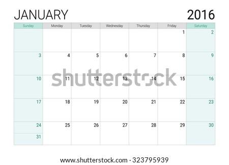 January 2016 calendar (or desk planner), weeks start from Sunday - stock vector