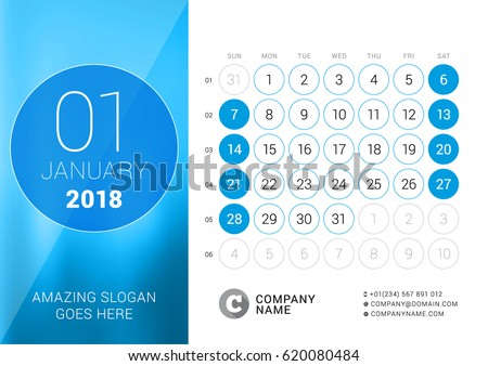 January 2018 Desk Calendar 2018 Year Stock Vector 620080484 ...
