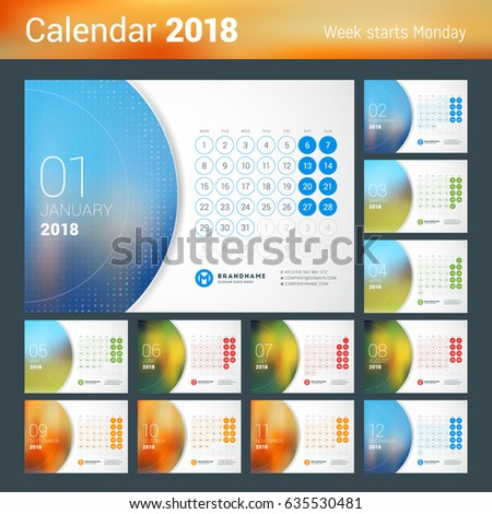 January 2018. Desk Calendar for 2018 Year. Vector Design Print Template with Place for Photo. Week Starts on Monday
