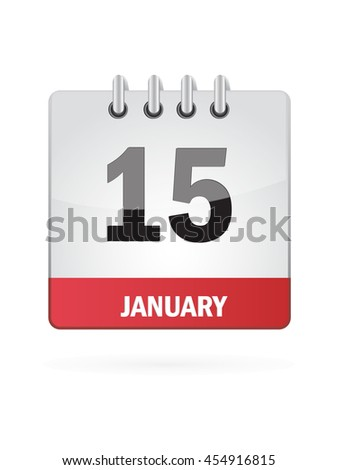 January Fifteen. Calendar Icon