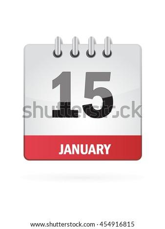 January Fifteen. Calendar Icon - stock vector