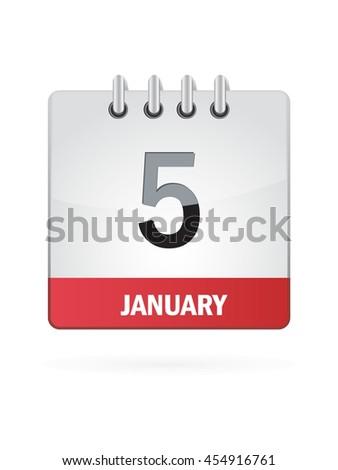 January Five. Calendar Icon - stock vector