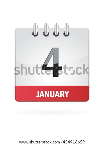 January Four. Calendar Icon