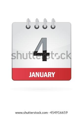 January Four. Calendar Icon - stock vector