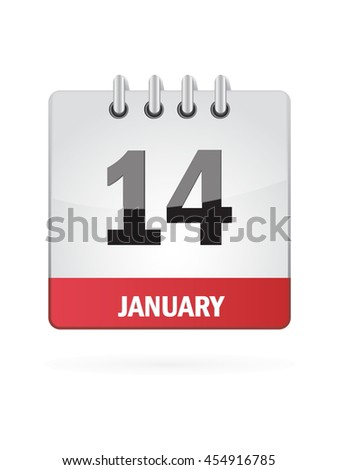 January Fourteen. Calendar Icon - stock vector
