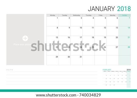 empty calendar 2018