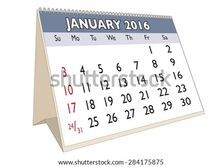 January month in a year 2016 calendar in english. Week starts on Sunday - stock vector