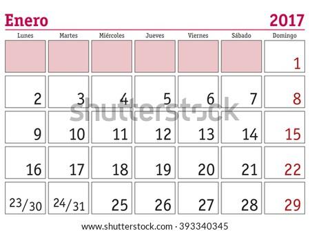 January month in a year 2017 wall calendar in spanish. Enero 2017. Calendario 2017 - stock vector