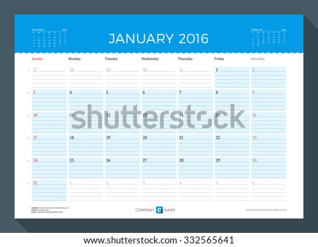 January 2016. Monthly Calendar Planner for 2016 Year. Vector Design Print Template. Week Starts Sunday - stock vector