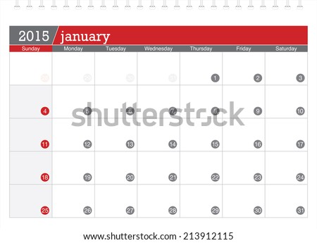 January 2015 planning calendar - stock vector