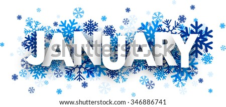 January sign with snowflakes. Vector illustration. - stock vector