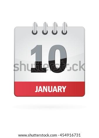 January Ten. Calendar Icon - stock vector