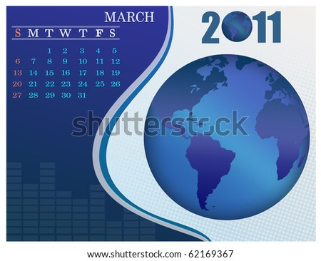 January - the Earth blue calendar for 2011, weeks starts on Sunday. Business Calendar. - stock vector