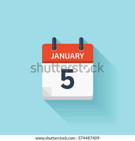 January 5. Vector flat daily calendar icon. Date and time, day, month. Holiday. - stock vector