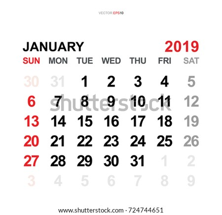 vector monthly calendar template 2019 year in simple style for template design