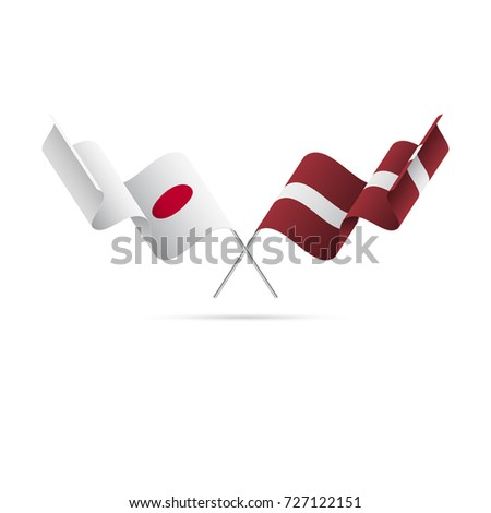 Japan and Latvia flags. Vector illustration.